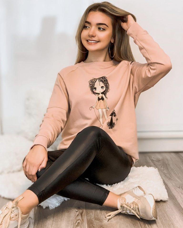 """Džemperis """"Mergaitė su šuniuku"""", rožinis"""