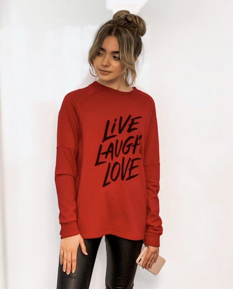 """Džemperis """"Live Laugh Love"""", raudonas"""