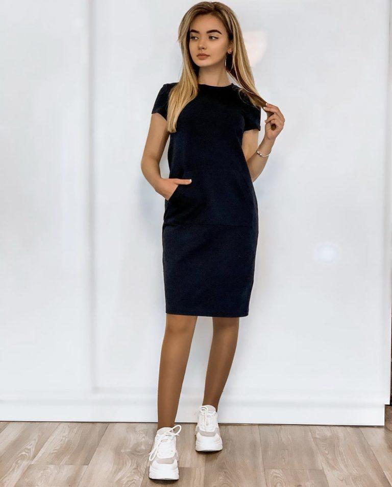 Suknelė su kišene, mėlyna