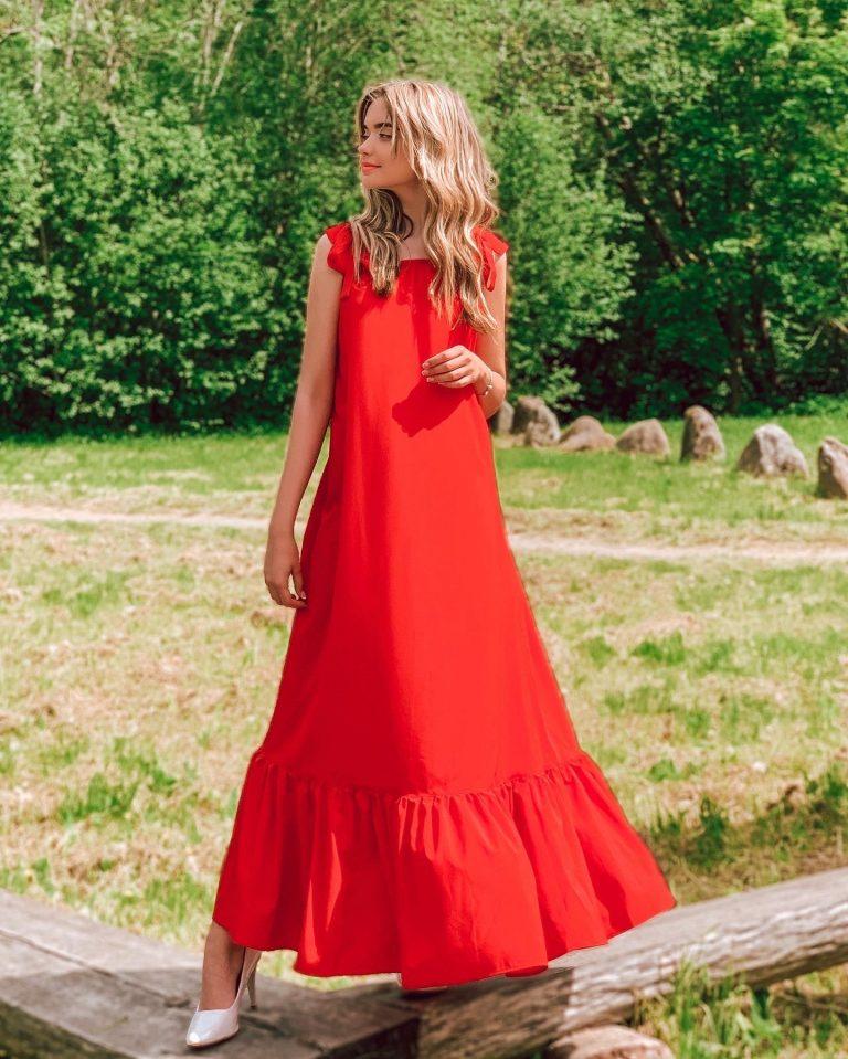 Ilga suknelė su kaspinais, raudona