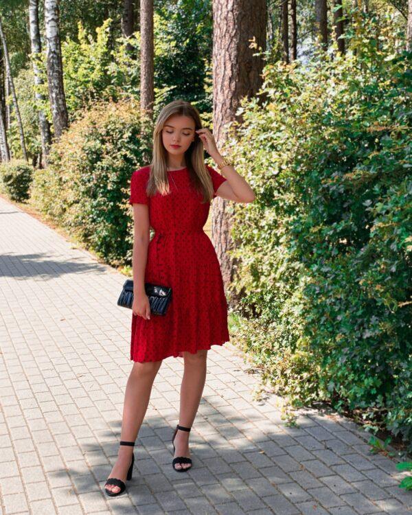 """Suknelė """"Taškeliai"""", raudona"""