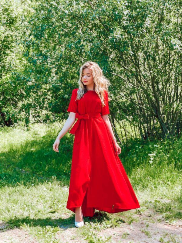 Ilga lininė suknelė, raudona