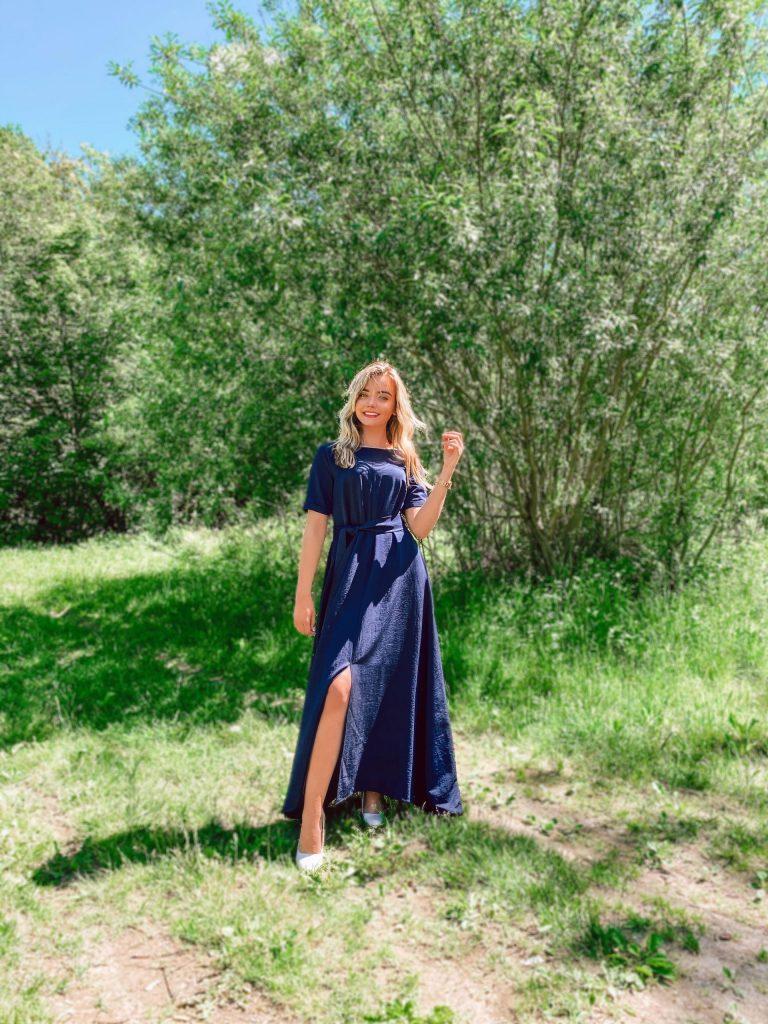 Ilga lininė suknelė, mėlyna